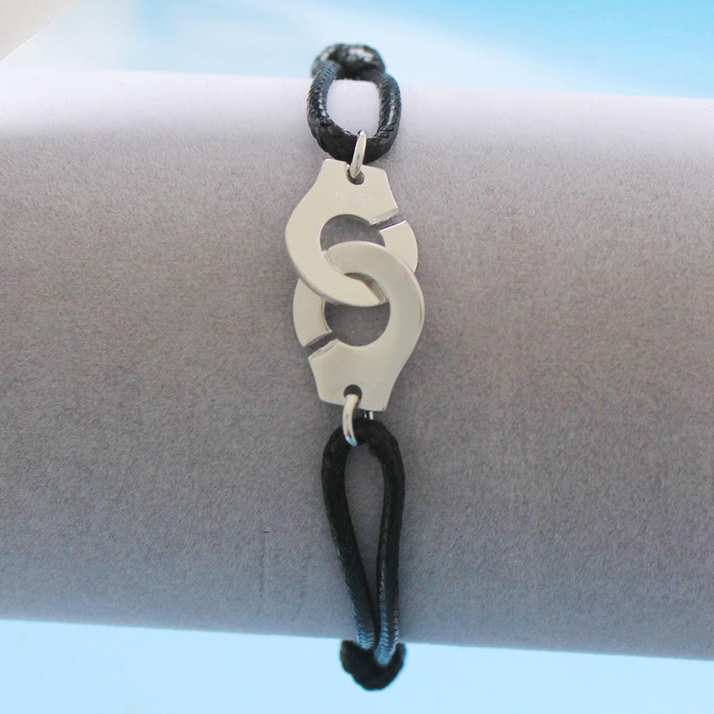 Мужские ювелирные изделия из стерлингового серебра 925 браслет наручники для женщин Bijoux с регулируемой веревкой 925 Серебряный кулон браслет для мужчин - Окраска металла: HW