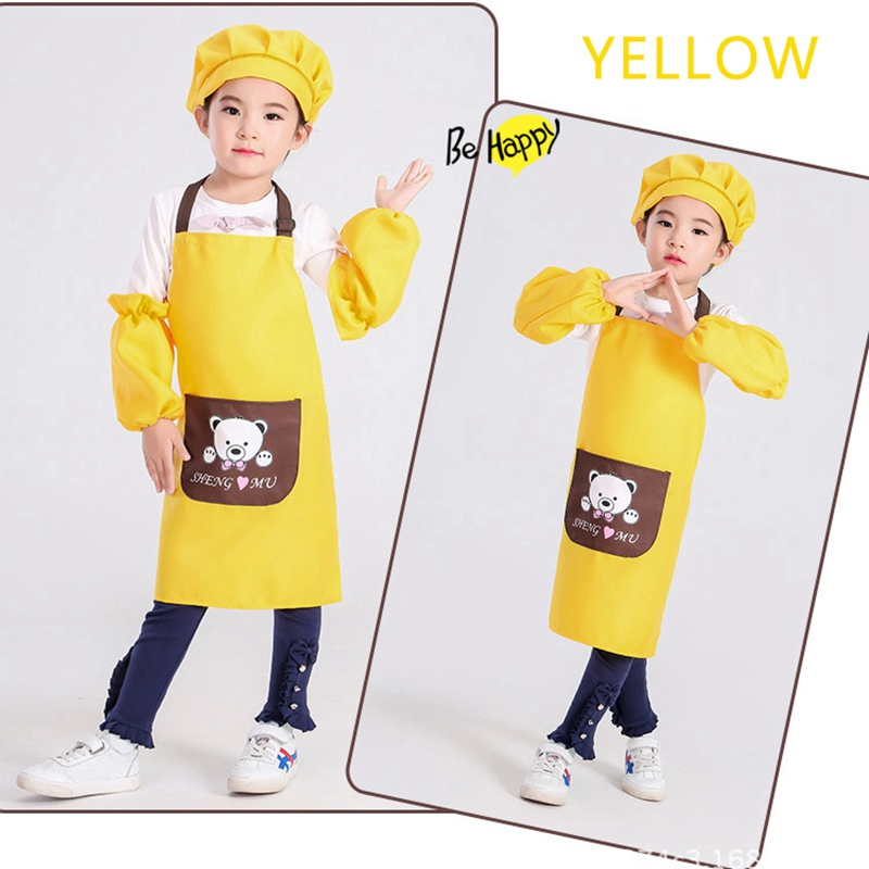 Household Cleaning 1 Set Soft Safety Children Apron Kit Children Aprons With Adjustable Strap Custom Logo For Kitchen Baking Painting Art Household Cleaning Protections