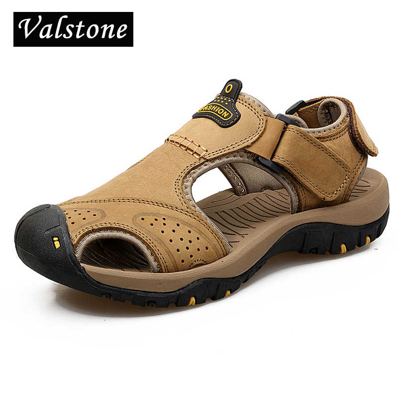 Valstone Top Quality Genuine leather Sandals Men summer natural leather slippers Toe Cap flats Rubber sole shoes hombre sizes 46