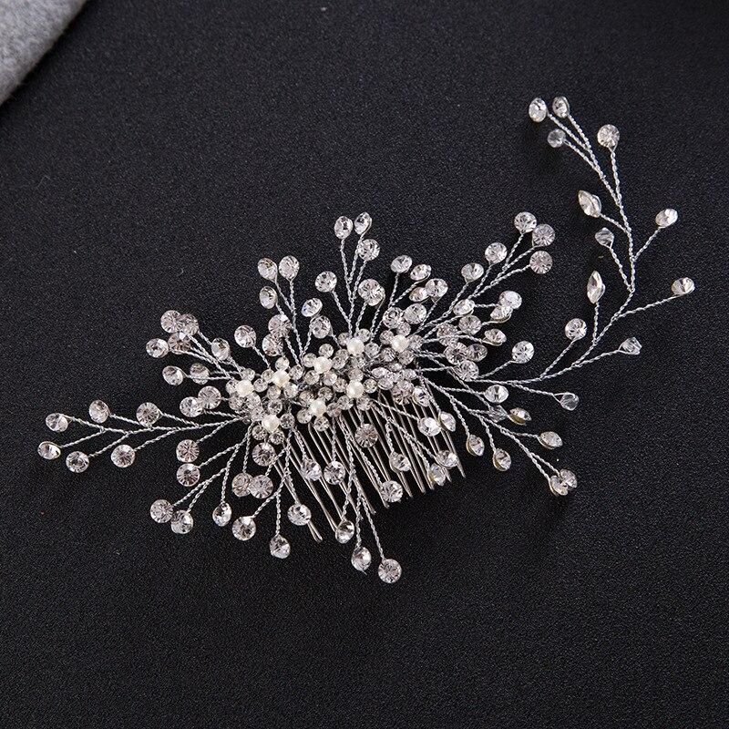 Nueva moda completa Diamantes con piedras falsas flores perla peine ...