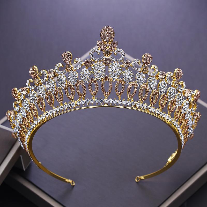 NEW Luxurious European Golden Crystal Queen Tiara Baroque Rhinestone Big Crown Wedding Tiaras for Brides Head Decorations ML622