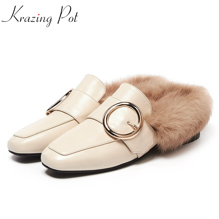 Krazing Pot genuine leather brand shoes slip on rabbit fur round buckle flat with outside slippers slingback winter shoes L66