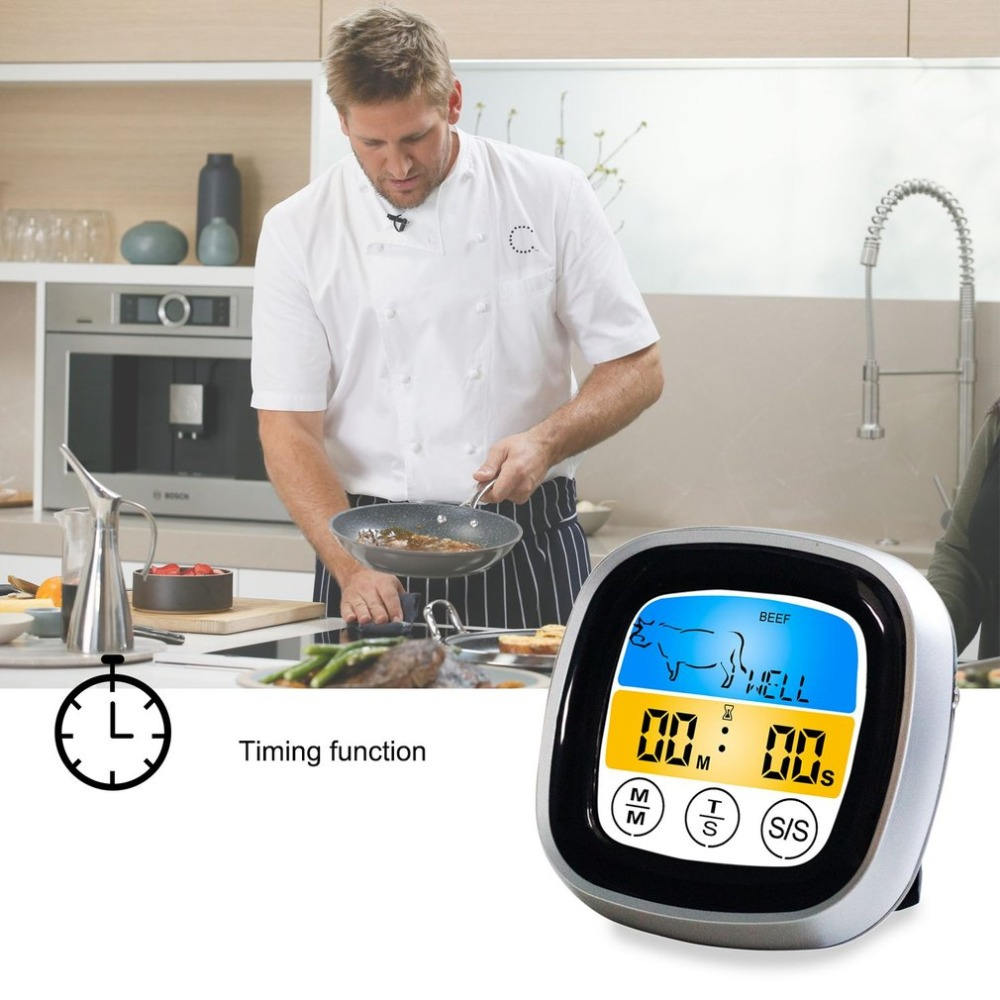 Digital Wireless Food Thermometer with Preset Temperature and Touch Screen Suitable for Perfect Cooking of Chicken Turkey and Fish 1