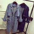 Mulheres Blusão Jeans Nova Moda Primavera Outono Mulheres Jaquetas Casacos Solto Super Longo Jaqueta Jeans Feminina BF Ocasional Outwear
