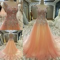 Ls89765 elegante da festa longo vestido corset voltar frisada tulle o neck a line vestidos de noite na venda abendkleider real fotos
