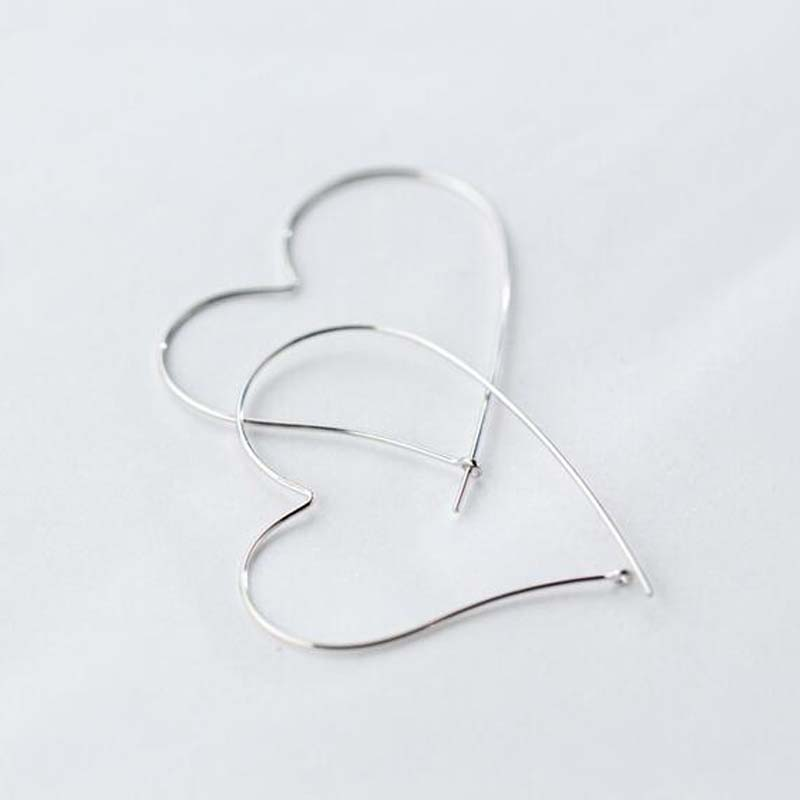 Fashion 925 Sterling Silver Earrings Hoops for Women Hollow Big Heart Hoop Earring Sterling-silver-jewelry Lovely Girl Best Gift