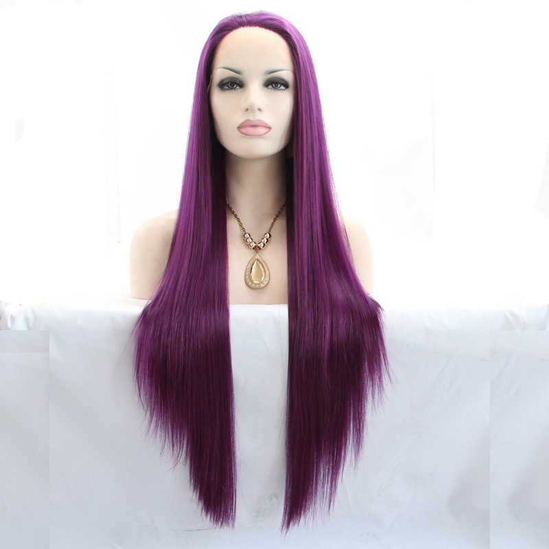 ФОТО Super beautiful high quality purple silky straight wigs synthetic lace front wig heat resistant fiber long hair wigs
