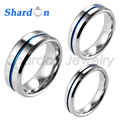 SHARDON 4mm/6mm/8mm Beveled Tungsten Carbide Wedding Band Ring High Polished Blue Line Ring Engagement Wedding Band