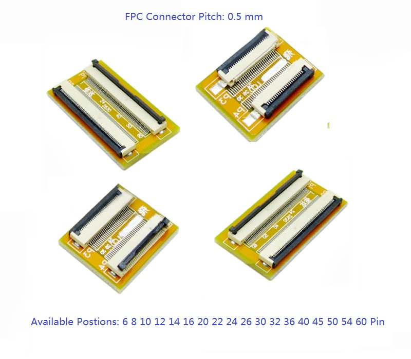 1 Pc Flexible Flat Cable FFC FPC Extension PCB Pitch 0.5 Mm 6 P 8 10 12 14 16 20 22 24 26 30 32 36 40 45 50 54 60 Pin