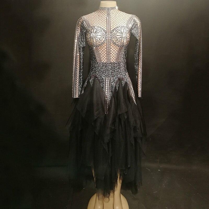 2fcfd19c3a3 Danse Soirée Travers Au Sexy Scène Color Vêtements Stretch Robe De Franges  Maille Dj Robes Femmes ...