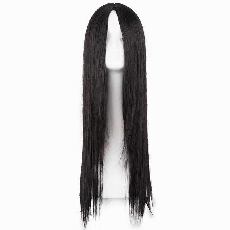 Black Wig Fei-Show Synthetic Heat Resistant Long Straight Middle Part Line Costume Cosplay Hair 26 Inches Salon Party Hairpieces