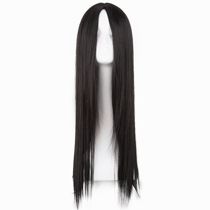 Черный парик фей-шоу Синтетический жаропрочных Длинные прямые средней части линии костюм Косплэй волос 26 дюйм(ов) салон партия шиньоны