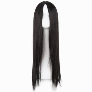 Black Wig Fei-Show Synthetic Heat Resistant Long Straight Middle Part Line Costume Cosplay Hair 26 Inches Salon Party Hairpieces(China)