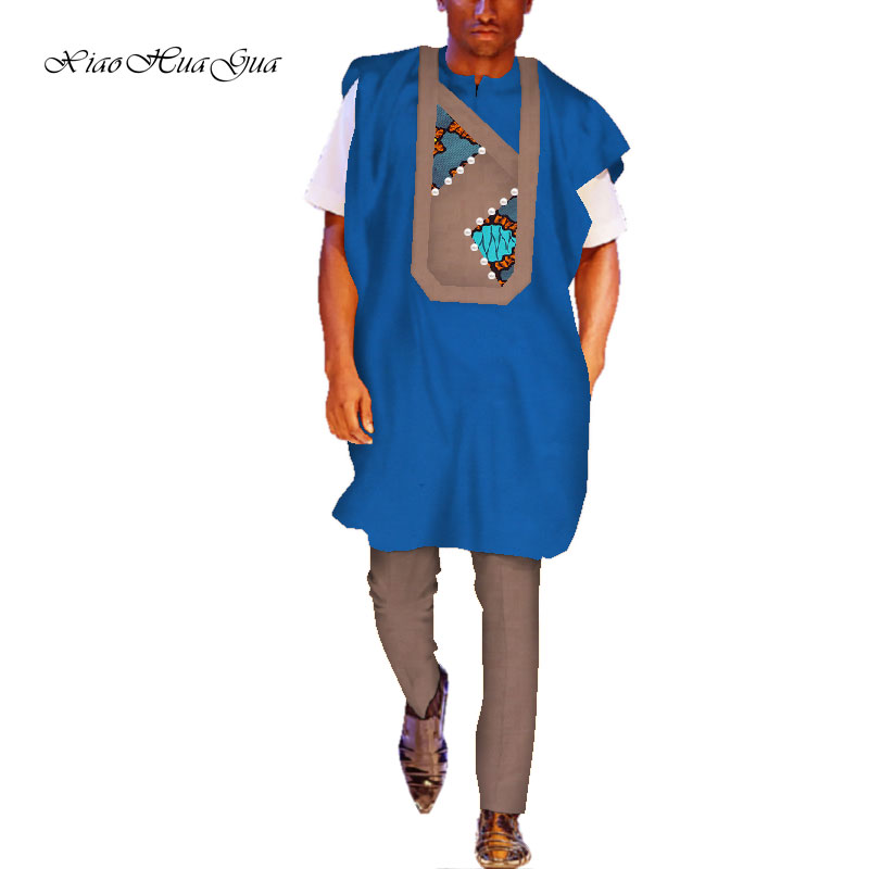 Africain Bazin impression traditionnelle Dashiki pour hommes haut décontracté t-shirts et pantalons pantalon ensemble grande taille hommes ensemble WYN729