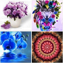 Colorful Flower 5D DIY Diamond Painting Full Square Embroidery Display Round Drill Europe Home Decor Wall Scenery