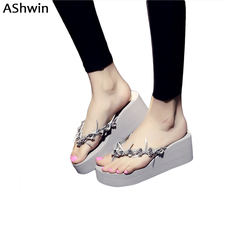 AShwin summer flower flip flops wedge platform sandals women lady thong slippers handmade holidays shoes mules clogs gray candy colors women slippers clogs mules eva 2017 summer flip flops beach garden shoes fashion sandals outdoor chinelo feminino