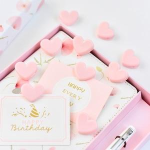 Image 1 - TUTU 100pcs Cute love heart Pink Color Small Paper Clip Plastic Craft Memo Clips DIY Photo Clamps Decorative Office School H0259