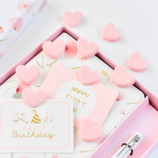 TUTU 100pcs Cute love heart Pink Color Small Paper Clip Plastic Craft Memo Clips DIY Photo Clamps Decorative Office School H0259