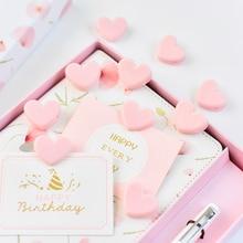 Tutu 100 pçs bonito amor coração cor de rosa pequeno clipe de papel plástico ofício clipes de memorando diy foto grampos decorativos escritório escola h0259