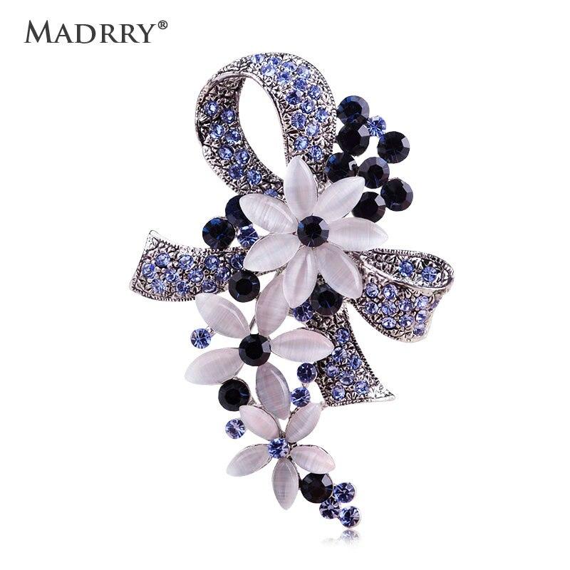 Madrry assez élégant Antique couleur argent Broches de fleurs avec opale pleine cristaux Broches écharpe broche accessoires Bouquet de mariage