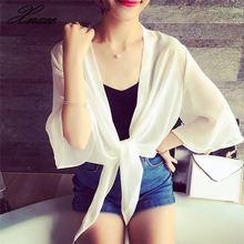 Female Chiffon Sun Protection Clothing Cardigan Shawl Womens Shirt Short Blouse Thin Loose Tie Top