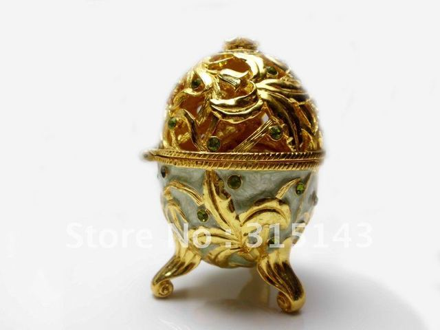 Wholesale(70pcs Pack)-2012 new egg sharp gold plated pewter Alloy metal jewelry box
