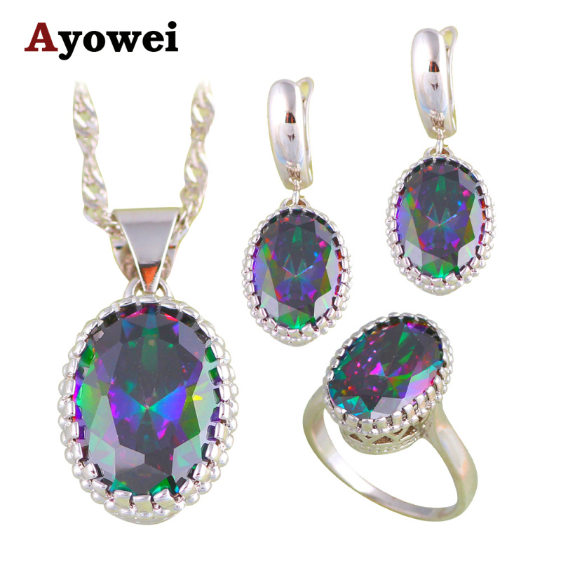 Hot Sell High Quality Shiny Rainbow Mystic Zircon Silver Fashion Jewelry Set Earrings Necklace Rings for
