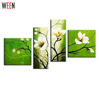 4 Piece Canvas Art Flower Hand Painted Picture Wall Decor Modern Canvas Art Pictures Green White