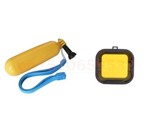 2 in1 GoPro Hero3 3+ Yellow Diving Housing Filters + Camera Mount Handheld Grip Float Stick Monopod SJ4000 + Exempt postage