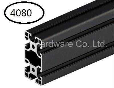 Profilé en aluminium noir profilé d'extrusion en aluminium 4080 40*80 couramment utilisé dans l'assemblage du cadre, de la table et du présentoir