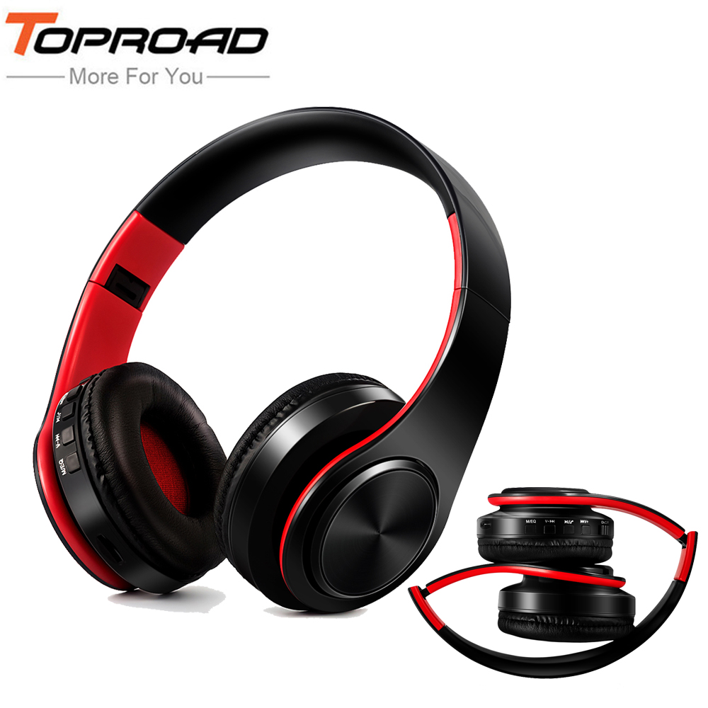 TOPROAD New Arrival Wireless Bluetooth Headphone Stereo Headset Music Head Over Headphones Earphone with Mic for iphone samsung