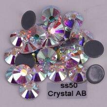 144 шт./лот, исправление стразы ss50(9,9-10,1 мм) Высокое качество Кристалл DMC AB железные камни