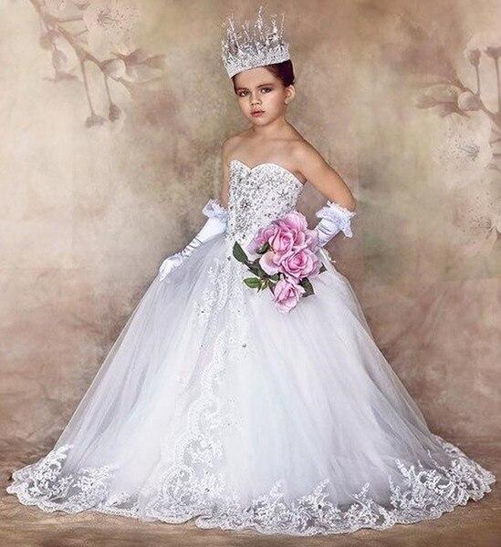 2019   Flower     Girl     Dresses   for Wedding Princess Sweetheart Bows Train Beads Kids Communion Gown for Children fille vestido daminha