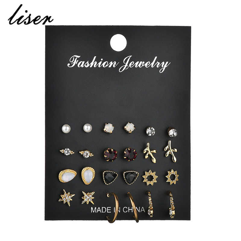 12 Pairs / Set Of Unique Design Retro Small Earrings Set For Female Punk Alloy Stars Leaf Earrings Gold Jewelry Pearls Earrings