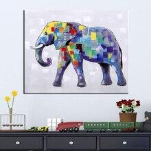 Ręcznie Malowane Nowoczesne Zwierząt Obraz Olejny Słoń Ścienne Dekoracyjne Płótno Obraz do salonu Wystrój Domu