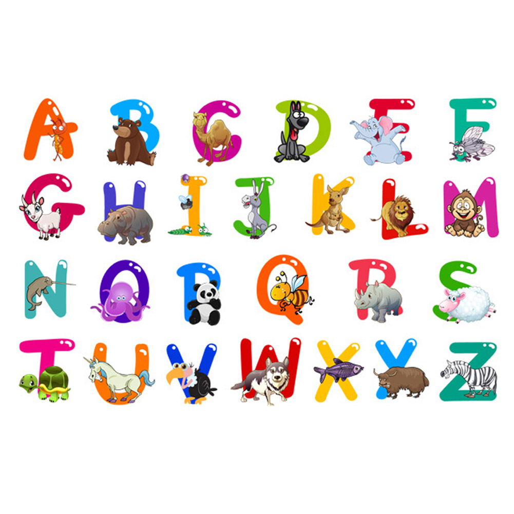 A z alphabet animals home decoration letters english vinyl for Deco mural stickers