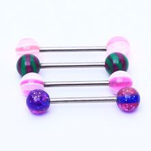 5pcs/lot Fashion stainless steel tongue rings barbell mix colors acrylic nipple rings body piercing jewelry for women men gift