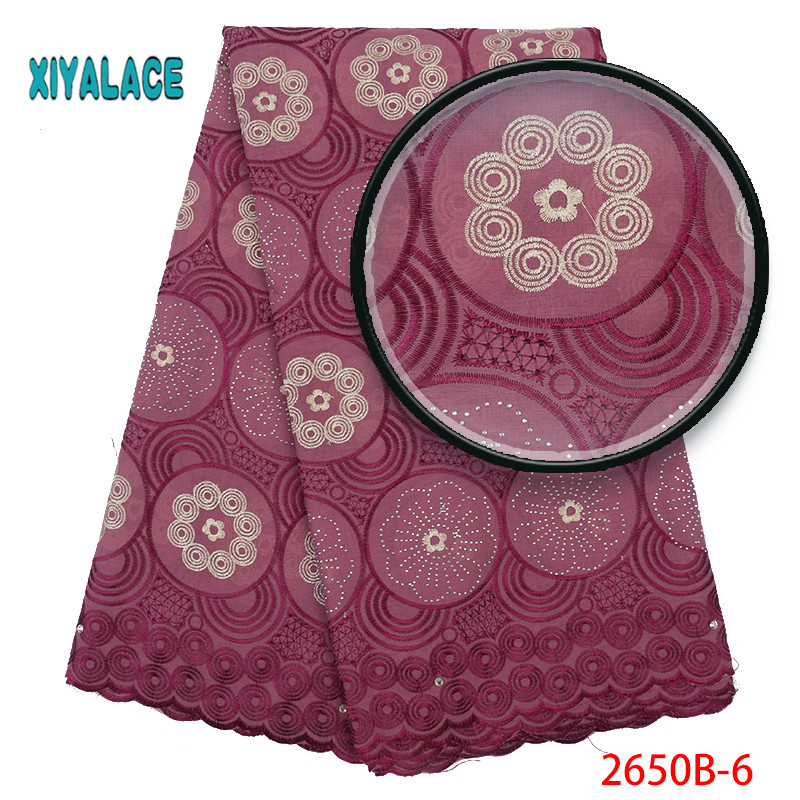 African Lace Fabric 2019 High Quality Lace Voile Lace Fabric New Design Swiss Voile Stones Lace Switzerland Add Stones YA2650B-6