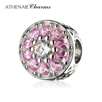 ATHENAIE 925 Sterling Silver Clear CZ Crystalized Floral Charms Bead Color Pink
