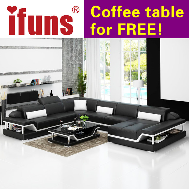IFUNS Modern Design U Shaped High Quality Leather Sofa Set Sectional Floor  Real Leather Sofa Set Living Room Furniture