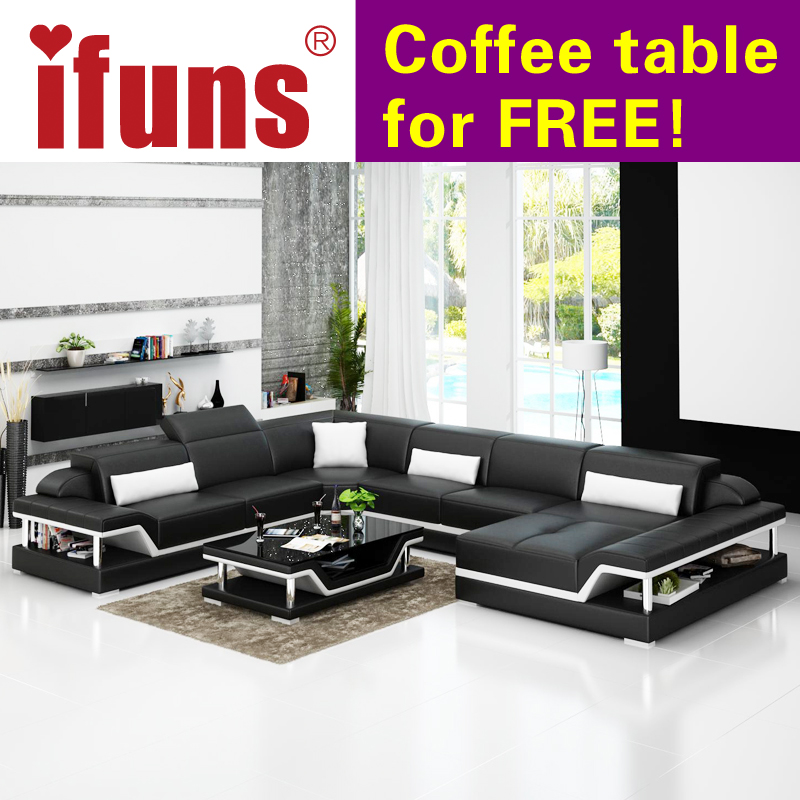 IFUNS Modern Design U Shaped High Quality Leather Sofa Set Sectional Floor Real Living Room Furniture