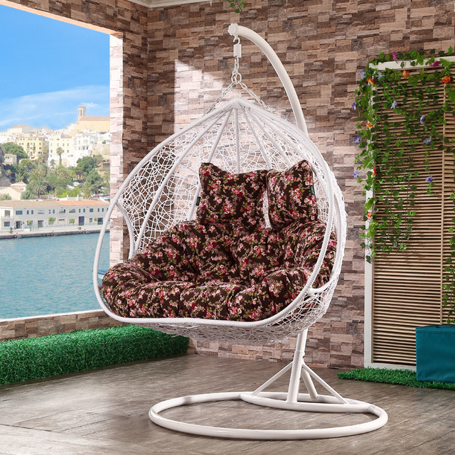 Hanging Wicker Chair Cobra Portable Picnic Double Outdoor Swing Rattan Rocking Baskets Balcony Patio Furniture