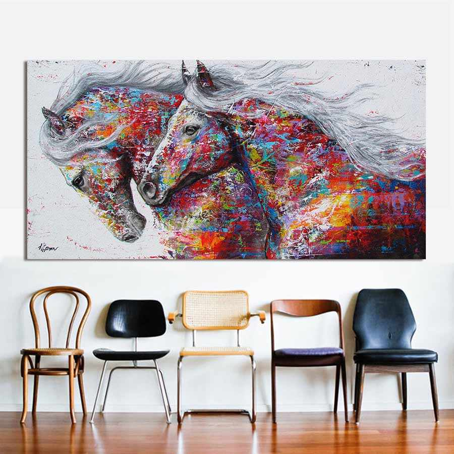 Retro nostalgia brown horse horse dance original living room home decor Modern animal oil painting on canvas wall art painted