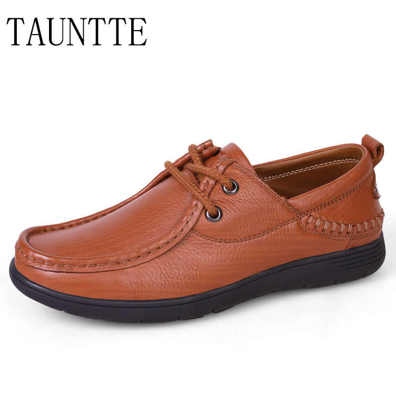 Tauntte Four Season Cow Leather Casual Shoes Fashion Genuine Leather Men Shoes Plus Size tauntte 2017 new all match low cut genuine leather shoes men casual work shoes for free shipping