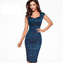 New Elegant Ladies Party Dress Slim Sheath Bodycon Printed Lace Dress For Women Knee Length Pencil Dresses Plus Size 3XL