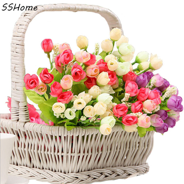 garden bouquet. Mode Bouquet Buatan Roses Bunga Garden Home Pernikahan Kerajinan Ruang Tamu Dekorasi DIY