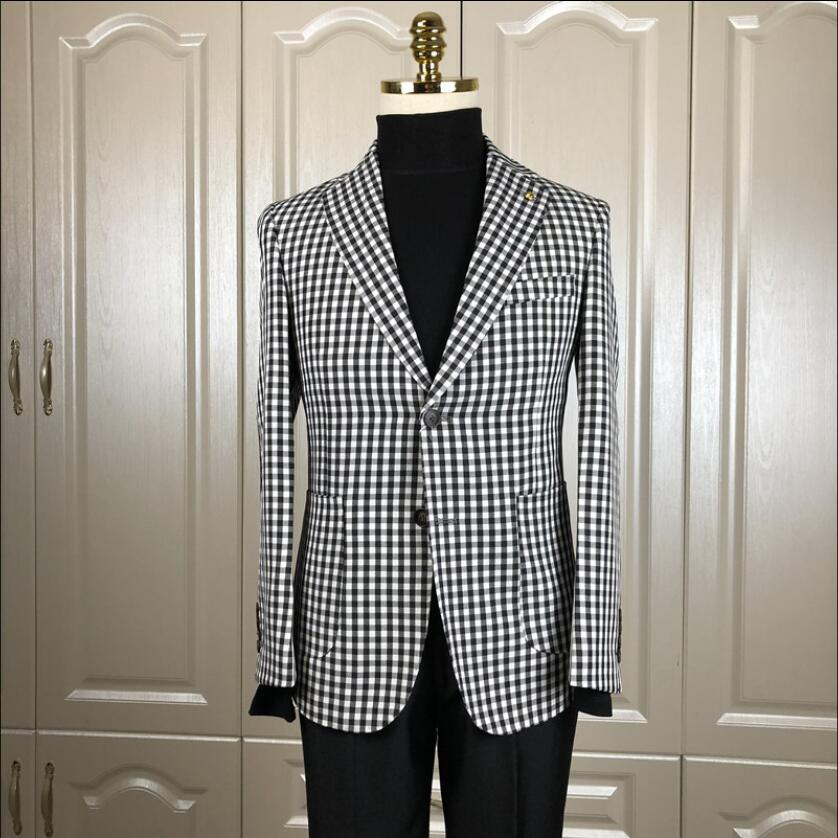 Plaid Suit Jackets Men Casual Single Suit Tide Hairstylist Blazers Europe And The United States Original Autumn