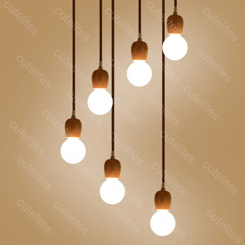 Wooden pendant lights E27 Natural color Modern hanging lamp for home/living room/bedroom vintage light nordic luminaire suspendu