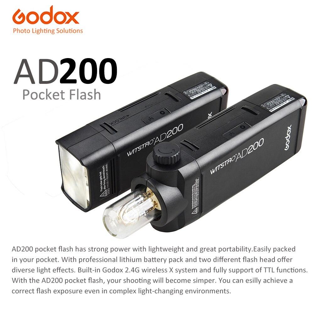 Godox AD200 карман вспышка Speedlight мини ttl Speedlite GN52 GN60 HSS 2,4G WirelessX Системы 200 Вт для Nikon Sony Canon EOS камеры
