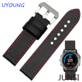 26mm Hot Sale Carbon Fiber Leather Watch band Fashion Black Watch accessories For Garmin Fenix 3 Watchband